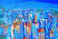 Paesaggio in blu | olio su tela | 45x60 cm