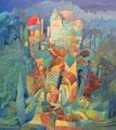 Paesaggio con viti | olio su tela | 70x80 cm