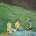 草上の昼食 oil on canvas