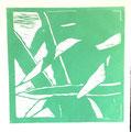 © Schidlo; Aloe vera, 2017; Linolschnitt, verlorene Form; 1. Zustand