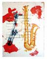 © 2014 Schidlo; more than jazz - Oben rot;  Lithographie auf Bütten