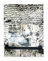 Das Fenster zum Hof; Collage, 2009, Gouache, Tusche