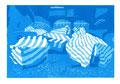 © Schidlo 2014; Stillleben mit bleuen Booten, 3. Zustand; Linolschnitt