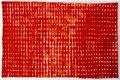 Opgebouwde kleur jodium  ingelijst 50x65 cm  aquarelverf op katoen