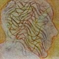 Gedankengänge/Tempera auf Leinwand/ 55 x 55 cm/ 2002