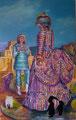 Gewandfrau mit Zwergen / 2008 / Tempera auf Leinwand / 160 x 100 cm