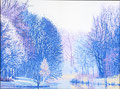 """""""Adempauze"""" winterversie uit seizoenen serie in stippeltechniek  Omgeving Rottemeren geschilderd met acrylverf op linnen 60 x 80 cm. € 1200"""