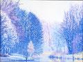 """""""Verstilling"""" winterversie uit seizoenen serie in stippeltechniek  Omgeving Rottemeren geschilderd met acrylverf op linnen 60 x 80 cm. € 1200"""