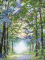 Er is geen weg naar geluk, geluk is de weg. Lente versie in stippeltechniek acrylverf op linnen 60 x 80 cm. € 950