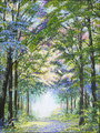 Er is geen weg naar geluk, geluk is de weg. Lente versie in stippeltechniek De lage Vuursche in Utrecht geschilderd met acrylverf op linnen 60 x 80 cm. € 950