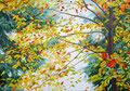 Ieder moment een mooi moment. ( Thich Nhat Hanh) Geschilderd door Marian van Zomeren- van Heesewijk met acrylverf op linnen 70 x 100 cm.