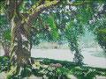 2017 Het groot mededogen in  Plum Village. In 1982 door Thich Nhat Hanh gesticht. Geschilderd door Marian van Zomeren- van heesewijk met acrylverf op linnen 80 x 60 cm.