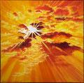 De zon is aanwezig, ook al bevindt zij zich achter de wolken. citaat Thich Nhat Hanh Geschilderd door Marian van Zomeren- van Heesewijk met acrylverf op linnen 40 x 40 cm.