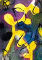 《よるの葉》 紙に透明水彩、アクリルガッシュ、ペン 148mm×100mm/2014