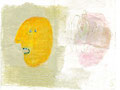 "《KAO×yellow》 ミクストメディア 350×490mm /2013  ""KAO×yellow"" /mixed media on paper/2012"