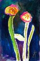 《よるの花》✔ 紙に透明水彩、ペン、色鉛筆 100mm×148mm/2014