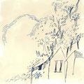 《紺エリコ「さえずりが窓をつたう日」CDジャケットのためのアートワーク》 紙にアクリル絵の具、ペン 130mm×130mm/2015