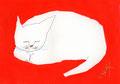 《ねこ、ねむる。》 紙にアクリル絵の具、ペン 105mm×148mm/2015