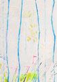 《木と木のあいだから#2》✔ キャンバスにアクリル絵の具、インク 225mm×158mm/2014