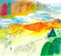 《JAL機内誌「SKYWARD」挿絵》 紙にアクリル絵の具、ペン /2015
