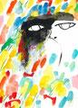 《見ていた》- 紙にアクリル絵の具、透明水彩、色鉛筆 165mm×110mm/2014