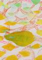 《のびるのびる枝》♢ キャンバスにアクリル絵の具、インク 228mm×158mm/2014