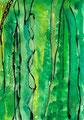 《みどりのなか》✔ 紙に透明水彩、アクリルガッシュ、ペン 148mm×100mm/2014