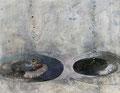 《水面にあらわれたふたつの呼吸》♢ キャンバスに油彩、インク 727mm×910mm/2011
