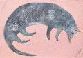 《ねこ》✔ パネルにアクリル絵の具、インク 158mm×228mm/2014