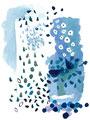 《魚の夢》 紙に油絵の具、ペン、油彩色鉛筆 /2016
