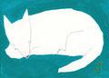 《いぬ、ねむる。》 紙にアクリル絵の具、ペン 105mm×148mm/2015