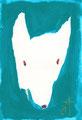 《いぬ、しょうめん。》 紙にアクリル絵の具、ペン 148mm×105mm/2015