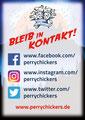 """Eintrittskarte Rückseite 2020 für den Musical-Verein """"Perry Chickers"""", Berlin"""