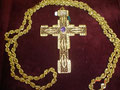 5L - croce filigrana con ametista in argento dorato - catena in argento dorato a tortiglione
