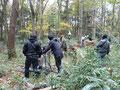 林の中で撮影準備