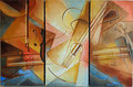 TRIPTYQUE MUSICAL huile/toile 3x30x60  non disponible