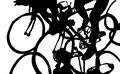 Martina Lückener  Radrennen  43x70 cm Papierschnitt 2001