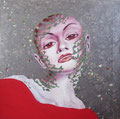 Woman in Red 2           acrylic on canvas 18x18 inch, 46x46 cm   2013