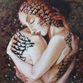 Embracing 1           acrylic on canvas 18x18 inch, 46x46 cm   2012
