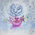 "White Rose 1           acrylic on canvas  40x40 cm, ""15.7x15.7     2018"