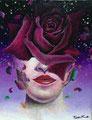 "Black Rose-Night Queen-            acrylic on canvas  18x14 cm, ""7.0x5.5   2018"