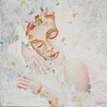 "White Dream 1            acrylic on canvas  46x46 cm, ""18x18   2018"