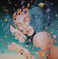 Embracing 5           acrylic on canvas 18x18 inch, 46x46 cm   2013