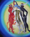 """ELEMENTS-3 Godess-Fire,Water,Air-           acrylic on canvas,72.9x60.8 cm, 28,7""""x24.0"""" 2016"""