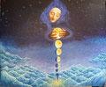 """-Quantum Aqua-Moon Drops-            acrylic on canvas   60-8x72-9     """"24-0x28-7   2017.7"""