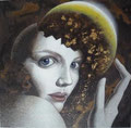 Woman Wearing Golden Moon           acrylic on canvas with gold leaf 11x11   inch, 27.5x27.5 cm 2014