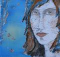 Portrait-Collage mit Acryl, ca. 40 x 40 cm