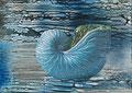 Meeresrauschen, Enkaustik-Collage auf Enkausik-Papier