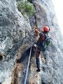 5. Seillänge, am schwierigen Einstieg der ersten Rissseillänge