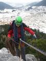 vor dem Abseilen, Blick Richtung Schneeberg